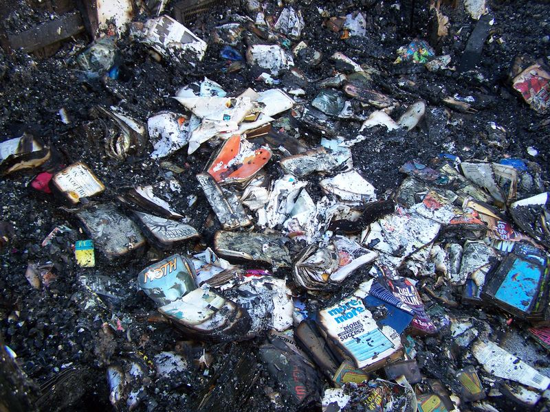 Burned up comics and books